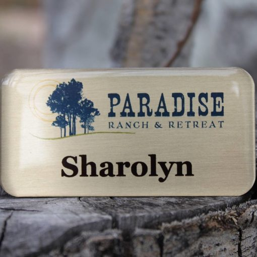 Brushed gold metal nametag with tag armor