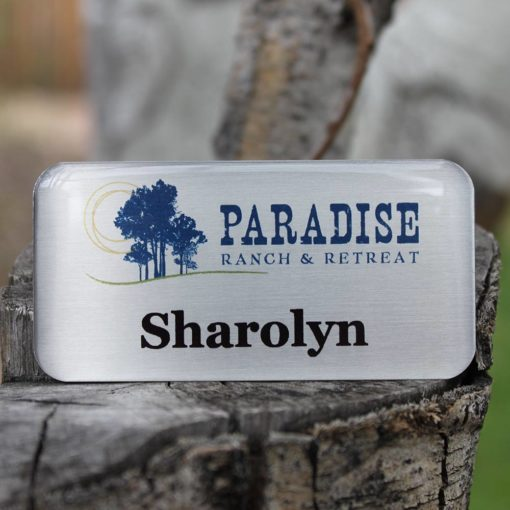 Brushed silver metal tag with Tag Armor