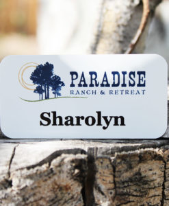 White metal nametag
